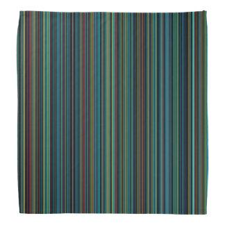 Retro aqua blue brown green stripe bandana