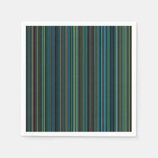 Retro aqua blue brown green stripe napkin disposable serviette