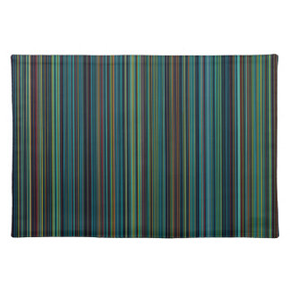Retro aqua blue brown green stripe place mat