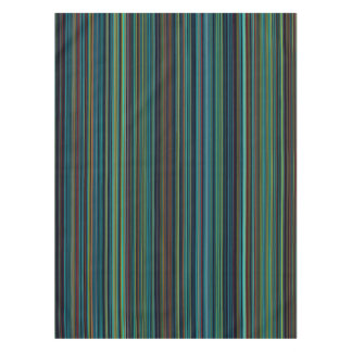Retro aqua blue brown green stripe table cloth
