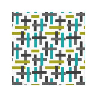 Retro Aqua Blue, Green, Grey Abstract Canvas Print