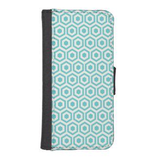 Retro Aqua Blue Honeycomb Phone Wallets