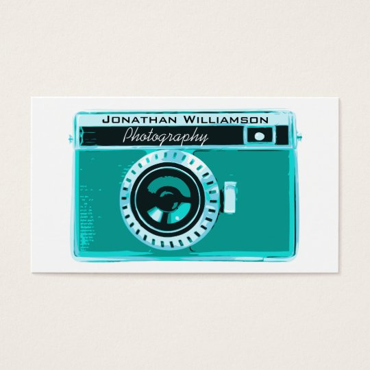 Retro Aqua Camera Photography Business Cards