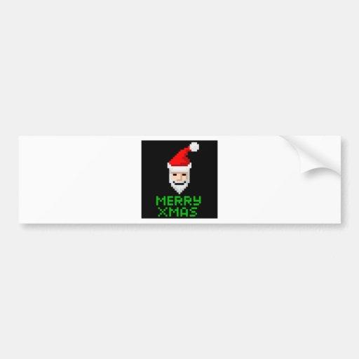 Retro arcade pixel art Santa Bumper Stickers