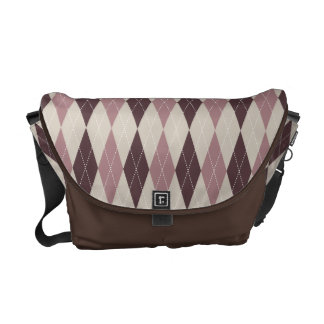 Retro Argyle Cozy Dusty Rose Print Courier Bag