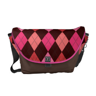 Retro Argyle Happy Hot Pink and Brown Courier Bag