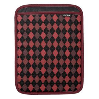 Retro Argyle Preppy Fun Crimson Red Brick Sleeves For iPads