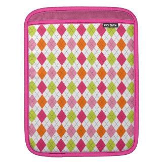 Retro Argyle Preppy Fun Happy Pink Lime iPad Sleeves