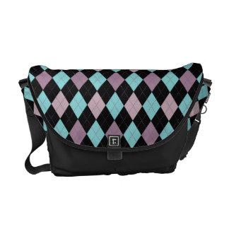 Retro Argyle Purple Teal Trendy Tones Commuter Bag