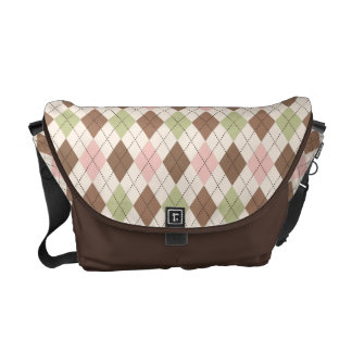 Retro Argyle Trendy Pink Green and Chocolate Brown Messenger Bag