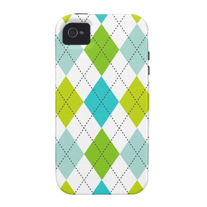 Retro Argyle Trendy Teal LIme Blue Fun iPhone 4/4S Cases
