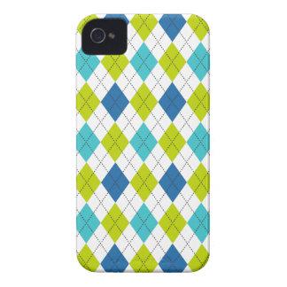 Retro Argyle Trendy Teal LIme Blue Fun iPhone 4 Case-Mate Case