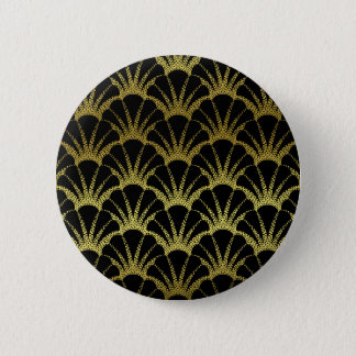 Retro Art Deco Black / Gold Shell Scale Pattern 6 Cm Round Badge