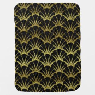 Retro Art Deco Black / Gold Shell Scale Pattern Baby Blanket