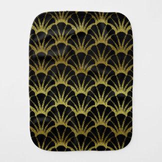 Retro Art Deco Black / Gold Shell Scale Pattern Baby Burp Cloth