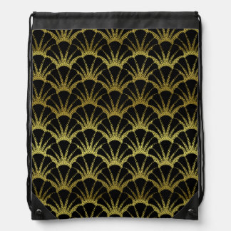 Retro Art Deco Black / Gold Shell Scale Pattern Backpack