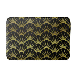Retro Art Deco Black / Gold Shell Scale Pattern Bath Mat