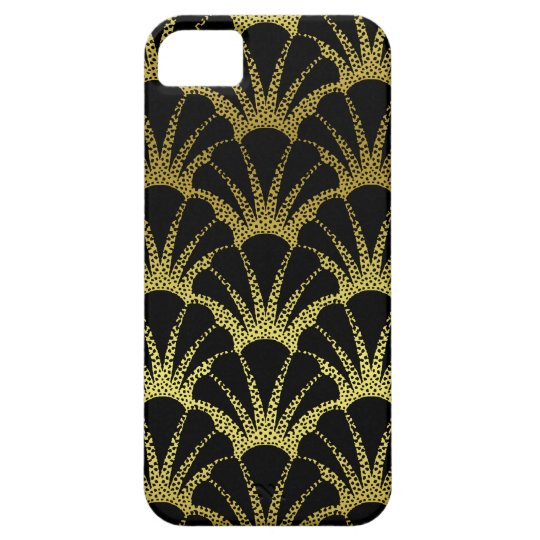 Retro Art Deco Black / Gold Shell Scale Pattern iPhone 5 Cover
