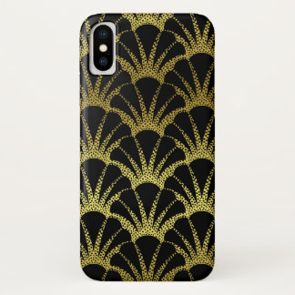 Retro Art Deco Black / Gold Shell Scale Pattern iPhone X Case