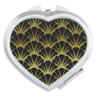 Retro Art Deco Black / Gold Shell Scale Pattern Makeup Mirror