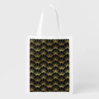 Retro Art Deco Black / Gold Shell Scale Pattern Reusable Grocery Bag