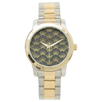 Retro Art Deco Black / Gold Shell Scale Pattern Watch