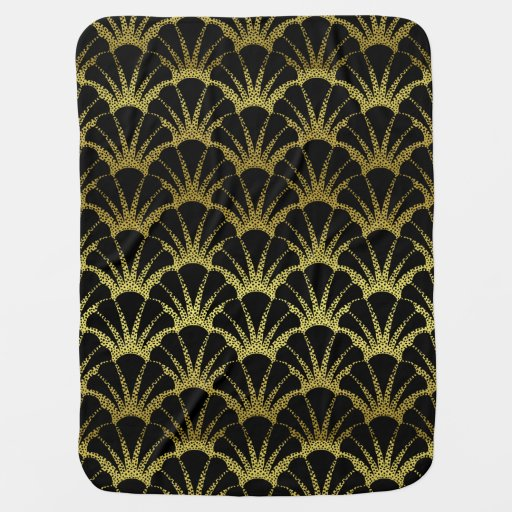 Retro Art Deco Black / Gold Shell Scale Pattern Receiving Blanket