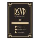 Retro Art Deco Frame Dark Wedding RSVP Card