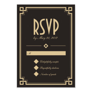 "Retro Art Deco Frame Dark Wedding RSVP Card 3.5"" X 5"" Invitation Card"