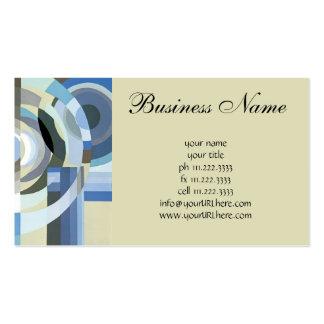 Retro Art Deco Jazz Vintage Blue Circles Pattern Business Card Template