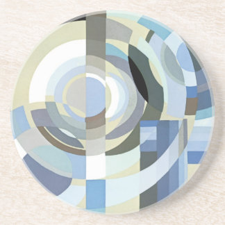 Retro Art Deco Jazz Vintage Blue Circles Pattern Coaster