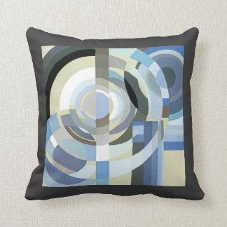 Retro Art Deco Jazz Vintage Blue Circles Pattern Cushions