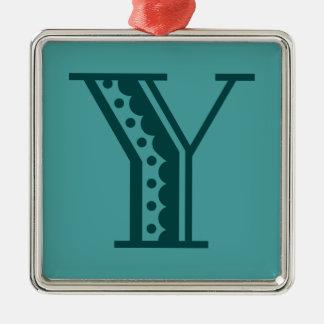 Retro art deco Mexican style letter monogram Y Silver-Colored Square Decoration
