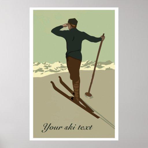 Retro art deco ski travel ad customisable poster