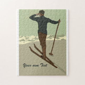 Retro art deco ski travel ad customizable jigsaw puzzle