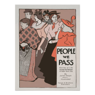 Retro art nouveau style People we pass book ad Print