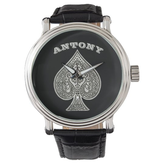 Retro Artistic Poker Ace Of Spades Personalised Watch