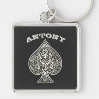 Retro Artistic Poker Ace Of Spades Personalized Silver-Colored Square Key Ring
