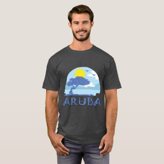Retro Aruba Divi Tree Beach Design T-Shirt