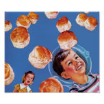 Retro Astronaut Boy Biscuits Poster