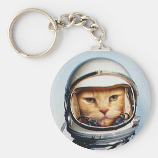 Retro Astronaut Cat Key Ring