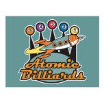 retro atomic billiards sign post card