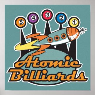 retro atomic billiards sign poster