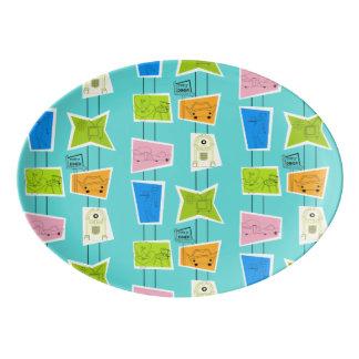 Retro Atomic Kitsch Porcelain Platter