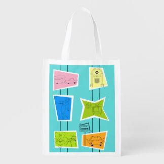 Retro Atomic Kitsch Reusable Grocery Bag
