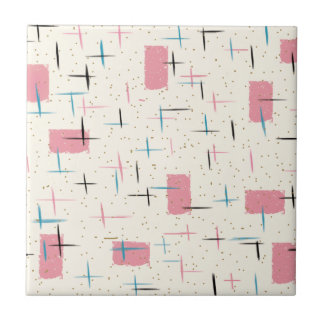 Retro Atomic Pink Pattern Ceramic Tile