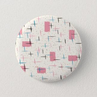 Retro Atomic Pink Pattern Round Button