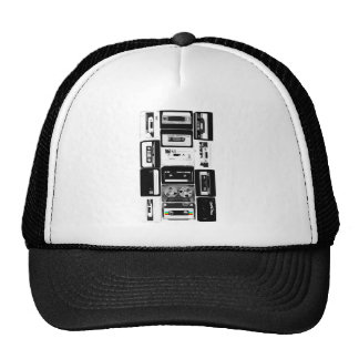 Retro audio cassette group b&w trucker hats