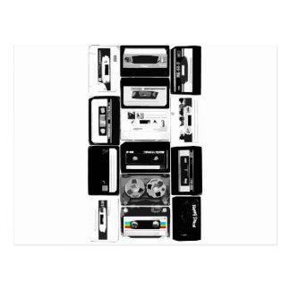 Retro audio cassette group b&w postcard
