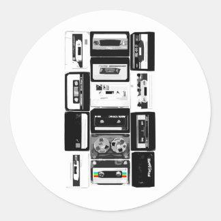 Retro audio cassette group b&w round sticker